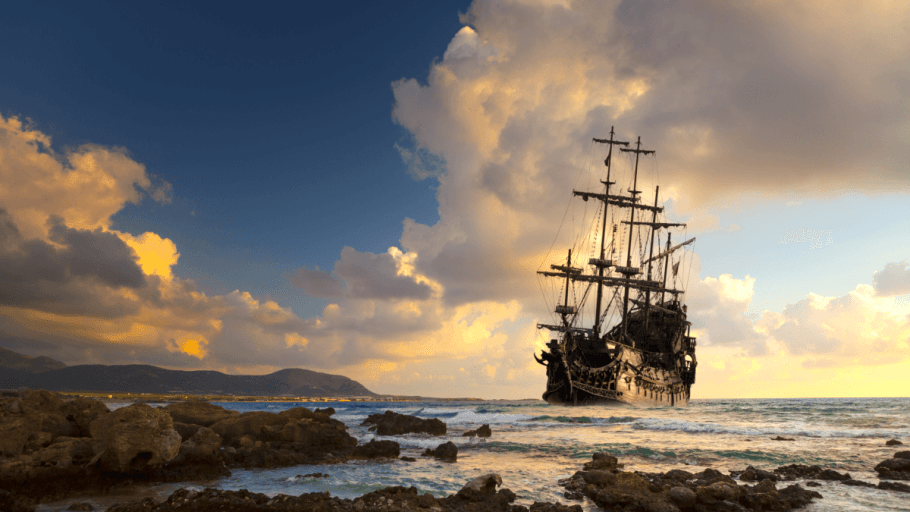 A ship sailing off into the sunset on talk like a pirate day
