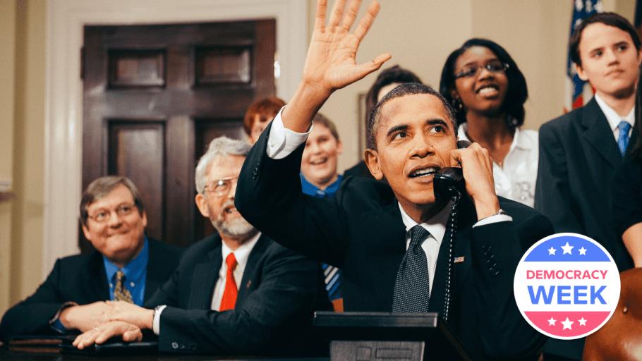 Former president Barack Obama at a meeting, representing political word origins