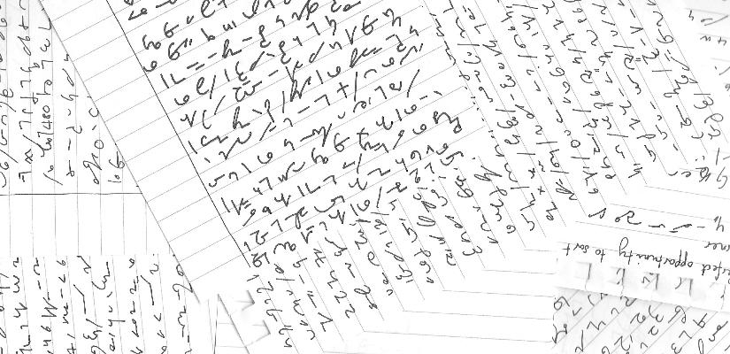 An assortment of Teeline shorthand writing