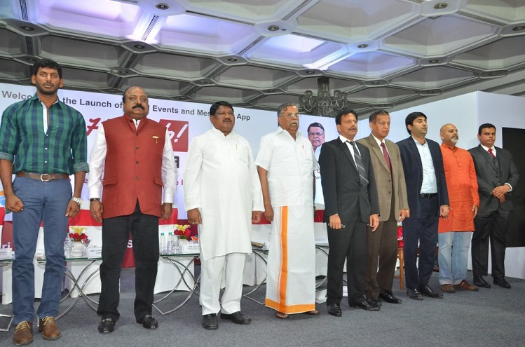 <b>From left to right - Actor Vishal, Mr. Xavier Britto, Hon'ble Minister for Tribal Affiars Shri Jual Oram, Mr. La Ganesan MP, Former audit general of India, Sathyamoorthy, Shri Mohit Ralhan, Mr. Sudhakar</b>