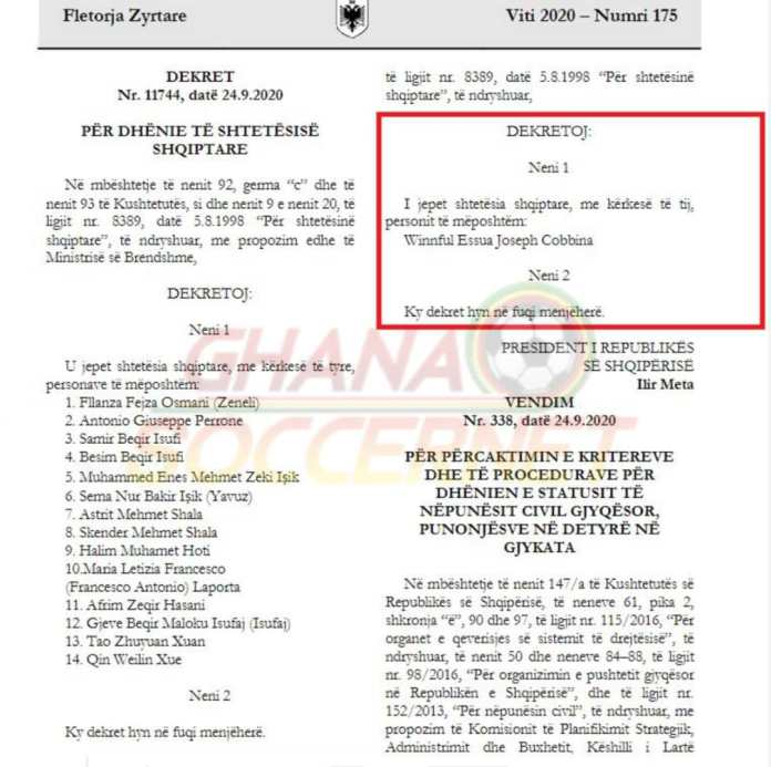 Government decree granting Cobbinah Albania citizenship