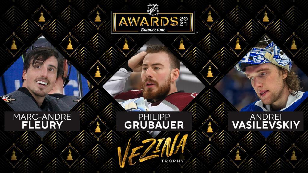 Fleury, Grubauer, Vasilevskiy named Vezina Trophy finalists