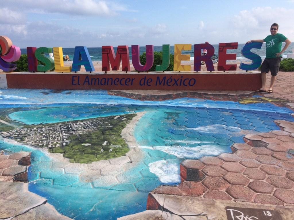 Isla Mujeres island map mural