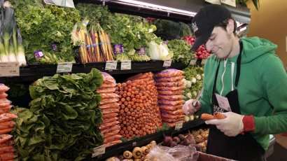 Image result for guy selling produce in produce aisle