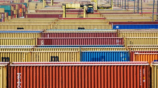 Containers are parked in the port of Antwerp, August 4, 2009.
