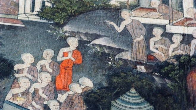 Mahapajapati Gotami entreats the Buddha.