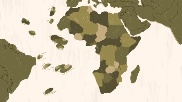 the african continent with pieces chipped away, symbolizing the people stolen in slavery