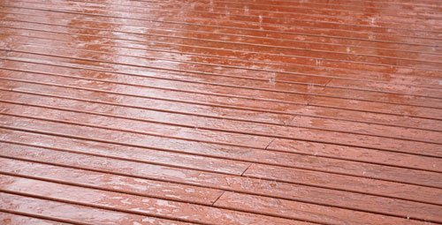 Cedar Deck in the Rain
