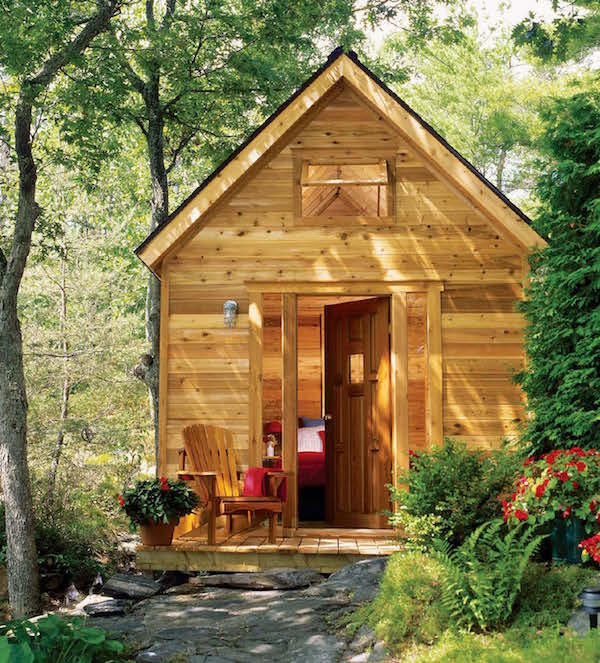 Front view of cedar cabin
