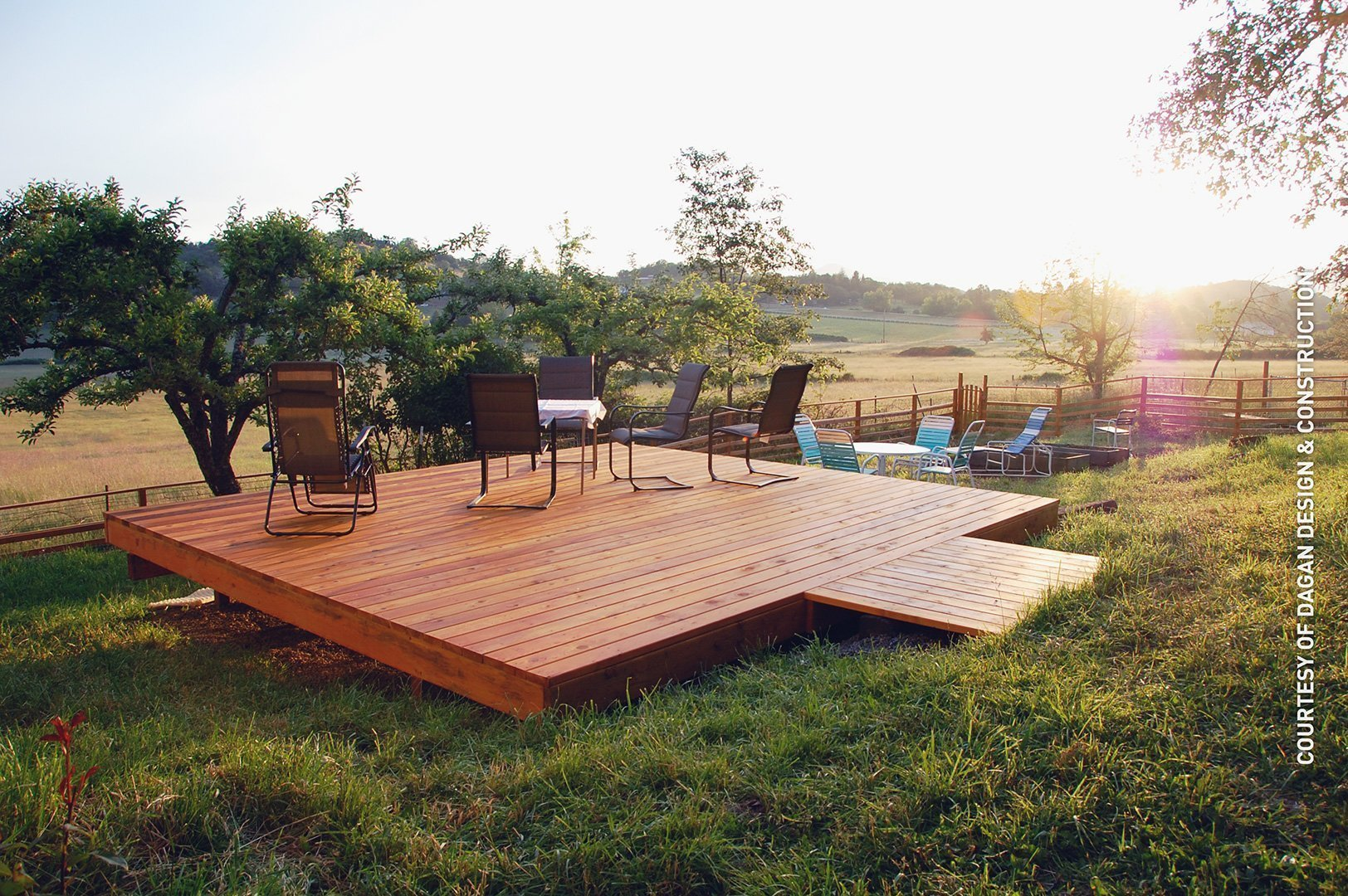 Cedar deck in large field no railing