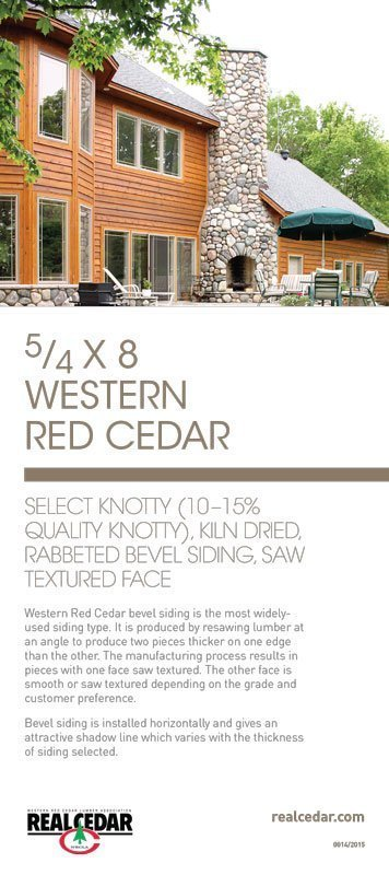 Item#14 – 5/4 X 8 WRC Select Knotty (10-15% Quality Knotty), KD, Rabbeted Bevel Siding, Saw Textured Face
