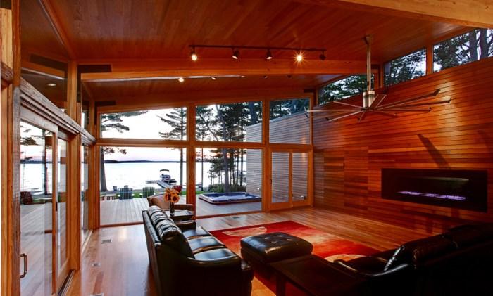 modern lakehouse fireplace design