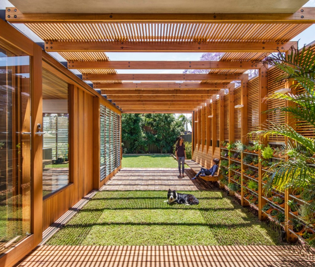indoor outdoor space with western red cedar