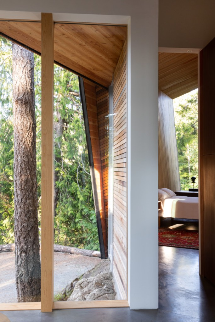 western red cedar siding and soffits from inside of home