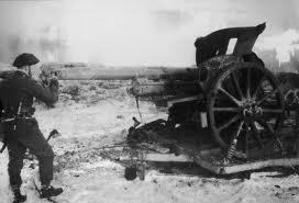 Churchill inspecting a destroyed enemy gun