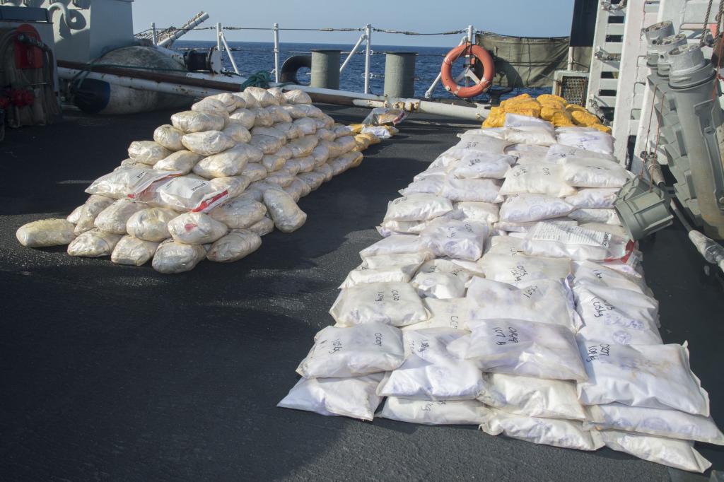 Her Majesty's Canadian Ship TORONTO's disposal team destroys illicit narcotics