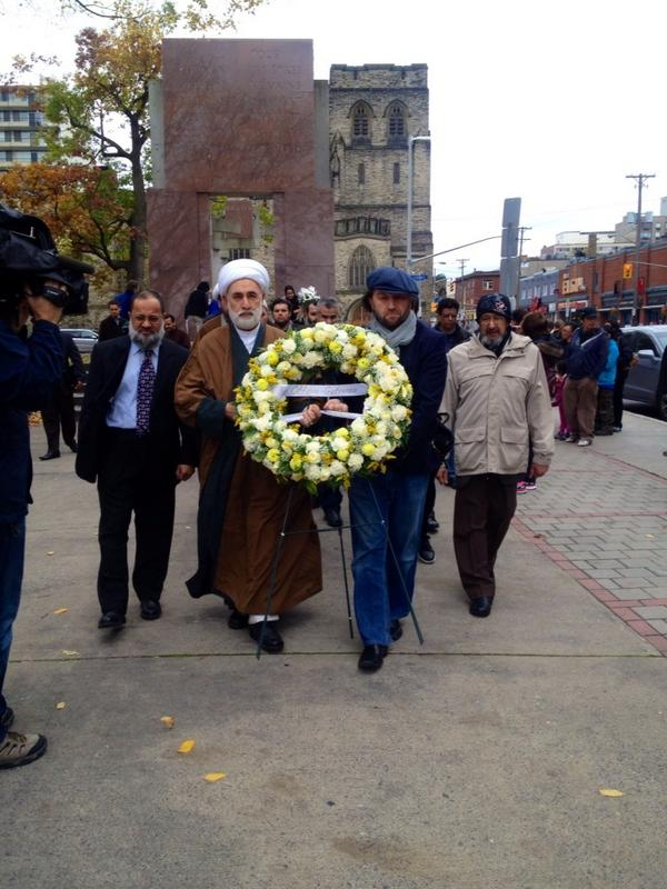 Members of the Canadian Muslim communities pay respect to Cpl. Nathan Cirillo and denounce acts of terror.