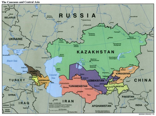 Central Asia (and the Caucasus), courtesy of the University of Texas at Austin