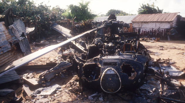 Black Hark Helicopter Downed in Somalia (Image Courtesy: NPR)