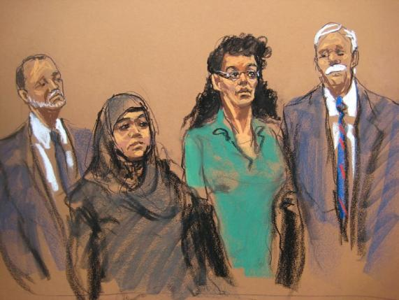 "Court drawing of Noelle Velentzas and Asia Siddiqui in federal court after being arrested in an alleged conspiracy to wage a ""terrorist attack""  in Brooklyn"
