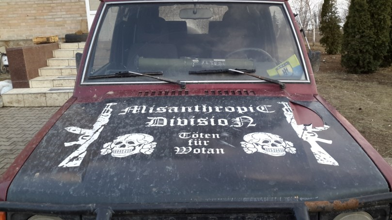 Misanthropic Division truck parked in front of Azov Barracks.  Image courtesy of author.