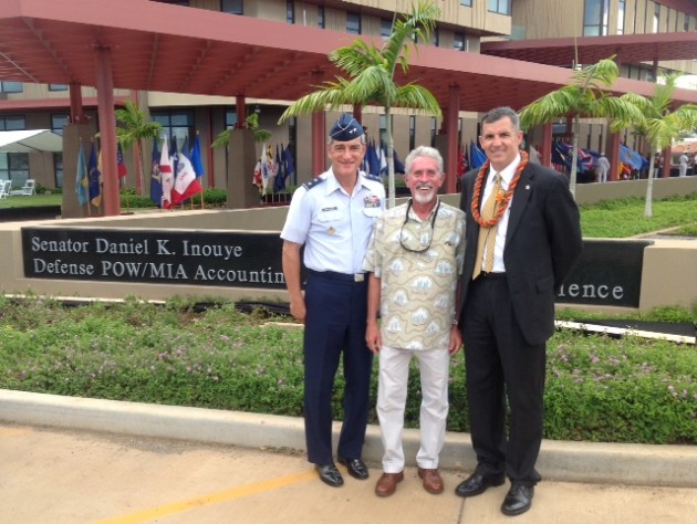 During a break in services earlier this week in Hawaii, from left, MG Kelly McKeague, former DPAA Deputy Director, Mike Taylor, chairman of the SOA's POW/MIA Committee, and Mr Mike Linnington, Director, DPAA