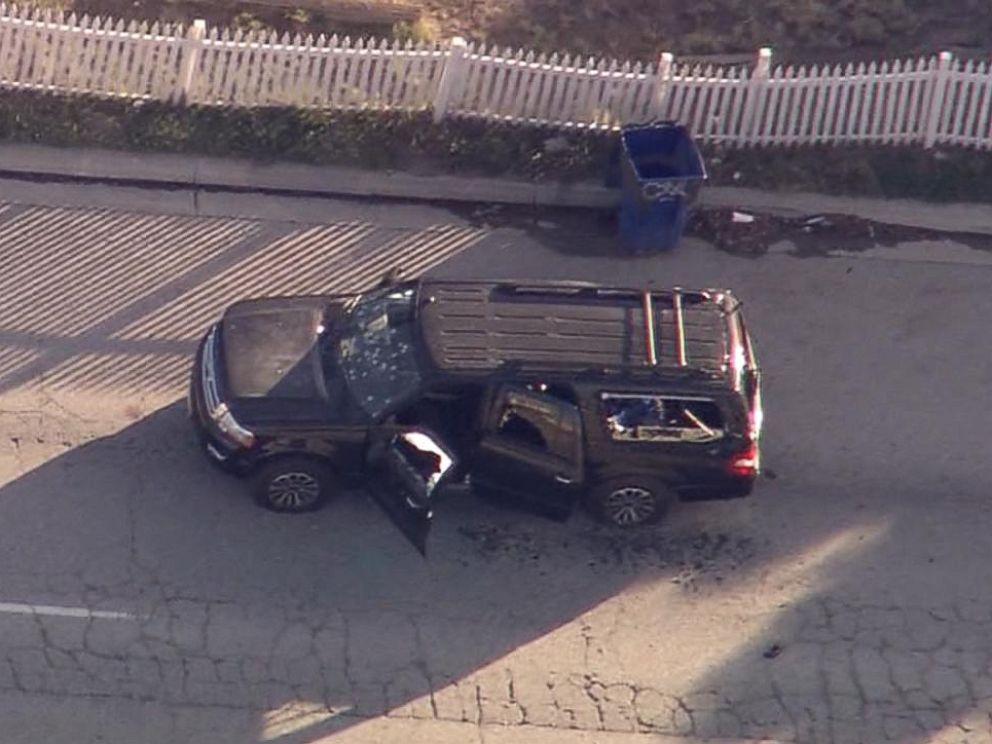 The SUV with bullet holes in San Bernardino, Calif., Dec. 2, 2015. [KABC]