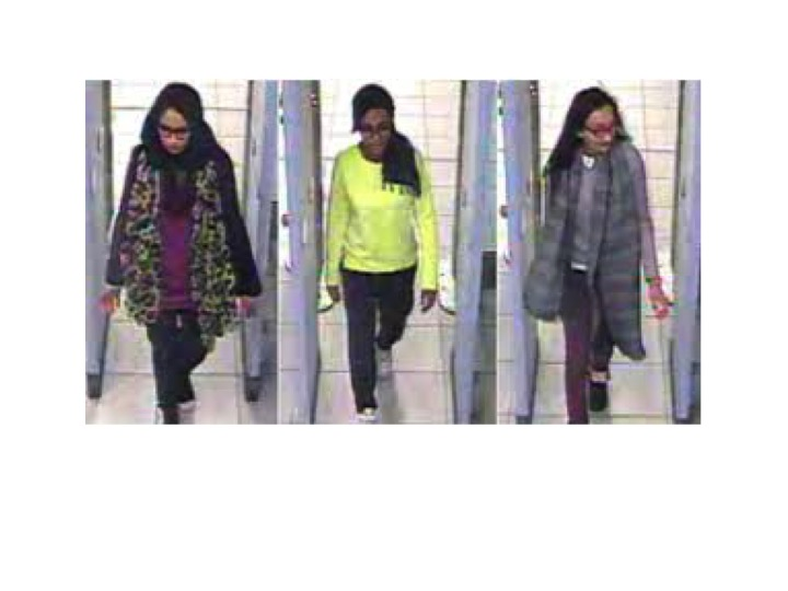Girls recruited by ISIS walk through London's Gatwick Airport before they boarded a flight to Turkey, Feb. 17, 2015, in combination picture made from handout still images taken from CCTV and released by the Metropolitan Police, Feb. 22, 2015