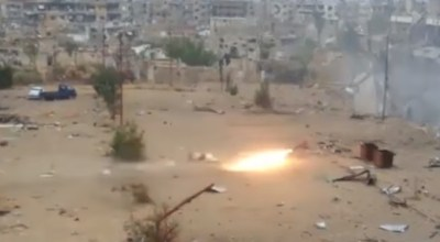Watch: Syrian Army Annihilates Daesh [ISIS/ISIL] Sniper-Hide with Home-Made Rocket Near Damascus, Syria