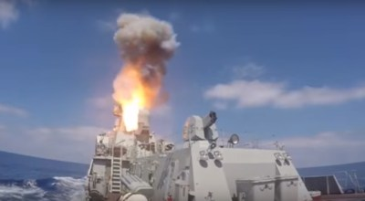 "Watch: Russia launches three ""Caliber"" cruise missiles at Jabhat al Nusra in Syria"