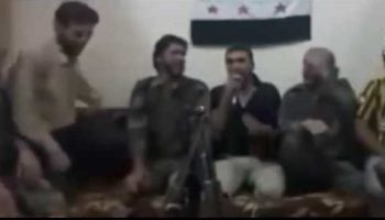 Watch: A literal photobomb ends a Syrian rebel karaoke session