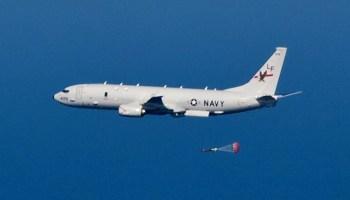 P-8A_Poseidon_of_VP-16_dropping_torpedo_in_2013