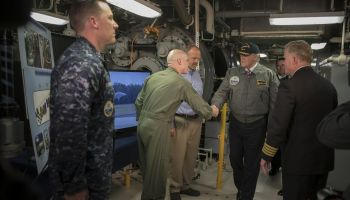 President Trump hails the USS Gerald R. Ford as a 'symbol of American strength' to shipbuilders and crew