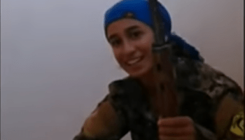 Watch: Female YPJ sniper laughs after near miss from ISIS round