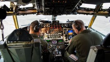 Picture of the day: Aaron Cho and Jared MacNaught Taxi the KC-135 Stratotanker