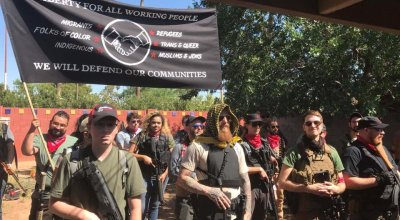 Armed left wing militant group appears outside Trump rally in Arizona