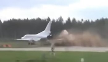 Watch: Russian heavy bomber skidded off a runway during a major military exercise