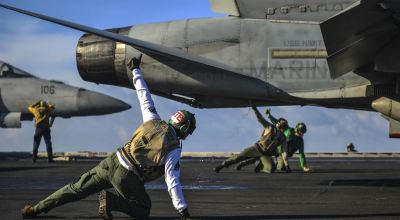 Picture of the Day: Marine Corps F/A-18C Launches from the USS Nimitz. Who Knows What These Guys Are Doing?