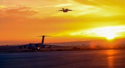 Picture of the Day: Air Force C-5M Super Galaxy Lands as a C-17 Globemaster III Takes Off