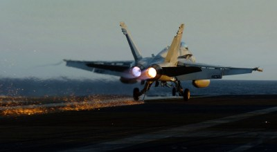 Watch: See the Sparks Fly! US Navy F-18 Lands on the USS Gerald R. Ford (CVN-78) at Night