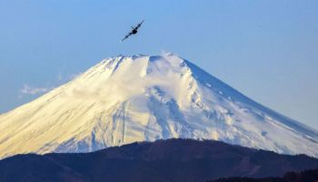 C-130J Super Hercules flies near Mount Fuji
