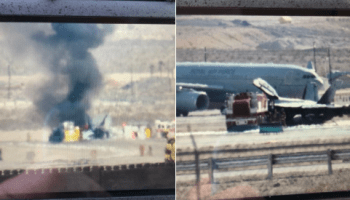 Royal Australian Air Force EA-18G Growler Catches Fire After Aborted Takeoff at Nellis AFB