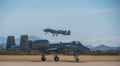 Picture of the Day: A-10C Thunderbolt II Taxiing While Another A-10 Takes to the Sky