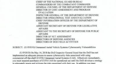 US Department of Defense Memo Stops Use and Purchases of Commercial-off-the-shelf (COTS) Unmanned Aerial Systems (UAS)