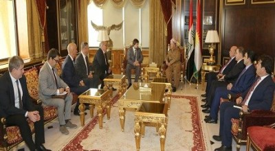 A Russian delegation (left) meets with President Masoud Barzani and an accompanying delegation in Erbil on August 30, 2018. | Masoud Barzani office