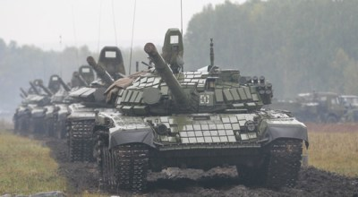 Russian tanks participate in the 2017 Zapad drills.   Russian Ministry of Defense