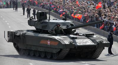 T-14 Armata main battle tank in the streets of Moscow on the way to or from the Red Square (WikiMedia Commons)