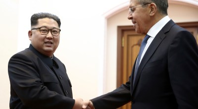 Korean leader Kim Jong Un, left, and Russia's Foreign Minister Sergei Lavrov shake hands during a meeting in Pyongyang, North Korea, Thursday, May 31, 2018.
