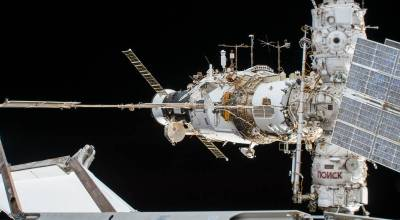 A portion of the International Space Station's Russian segment is pictured before the Progress 69 cargo craft undocked from the aft end of the Zvezda service module. (NASA)