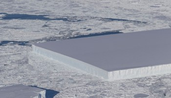 This picture of a square iceberg floating around the internet isn't fake